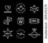 set monochrome hipster line... | Shutterstock .eps vector #259152179