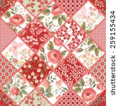 seamless patchwork pattern with ... | Shutterstock .eps vector #259155434
