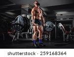 muscular man doing heavy... | Shutterstock . vector #259168364