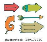 doodle color arrows collection. | Shutterstock . vector #259171730
