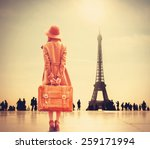 redhead girl with suitcase on... | Shutterstock . vector #259171994