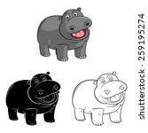 Coloring Book Hippo Cartoon...