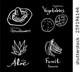 vegetable and fruit... | Shutterstock .eps vector #259196144
