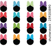 polka dot bow set | Shutterstock .eps vector #259203890