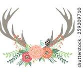 deer antlers with flowers | Shutterstock .eps vector #259209710