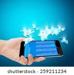 modern mobile phone in the hand    Shutterstock . vector #259211234