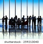 silhouette group of business... | Shutterstock . vector #259213040