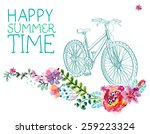 watercolor flowers and bicycle... | Shutterstock .eps vector #259223324