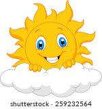 happy sun behind the cloud  | Shutterstock .eps vector #259232564