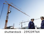two site workers inside... | Shutterstock . vector #259239764