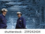 science engineers with giant... | Shutterstock . vector #259242434