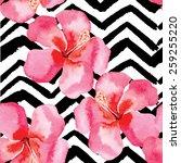 hand drawn tropical flower...   Shutterstock .eps vector #259255220