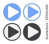 vector play icon set. black and ... | Shutterstock .eps vector #259261400
