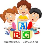children reading book | Shutterstock . vector #259261673