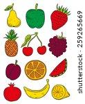 hand drawn fruits | Shutterstock .eps vector #259265669