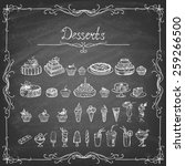 vintage collection of desserts. ... | Shutterstock .eps vector #259266500