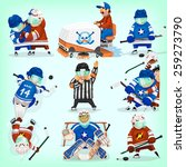 set of hockey players in... | Shutterstock .eps vector #259273790