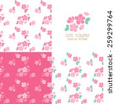 Set Of Seamless Pink Flowers...
