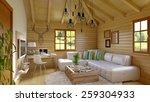modern and retro cabin interior ...   Shutterstock . vector #259304933