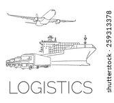 logistics sign with plane ...   Shutterstock .eps vector #259313378