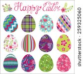 easter eggs with ornaments... | Shutterstock .eps vector #259325060