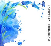 watercolor blue flower and... | Shutterstock . vector #259326974