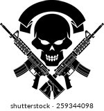 Military Skull With Crossed...