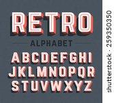 retro style 3d alphabet. vector. | Shutterstock .eps vector #259350350