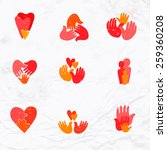 vector set of logos with hand ... | Shutterstock .eps vector #259360208