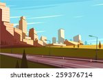 cityscape with highway. vector... | Shutterstock .eps vector #259376714