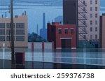 rainy cityscape. vector... | Shutterstock .eps vector #259376738