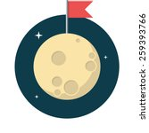 Moon  Flat Design  Vector...