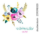 watercolor flowers bouquet.... | Shutterstock .eps vector #259398320