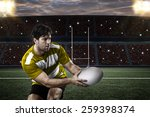 Rugby Player In A Yellow...