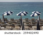 beach with white and blue... | Shutterstock . vector #259402490