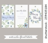 set of three watercolor floral... | Shutterstock .eps vector #259435184