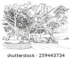 sketch of city landscape bench... | Shutterstock . vector #259443734