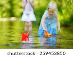 two little sisters playing with ... | Shutterstock . vector #259453850
