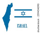israel map and flag with david...   Shutterstock .eps vector #259454090