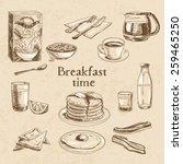 vector breakfast hand drawn set.... | Shutterstock .eps vector #259465250