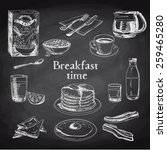 vector breakfast hand drawn set.... | Shutterstock .eps vector #259465280