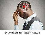 Stock photo right decision wisdom strategy concept side profile young man solving problem isolated on gray 259472636