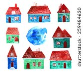 hand drawn watercolor house... | Shutterstock .eps vector #259484630