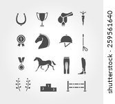 Stock vector horse equipment icon set fill 259561640