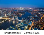 London At Night  Aerial View...