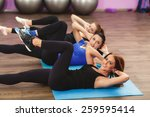 portrait of fitness class and... | Shutterstock . vector #259595414
