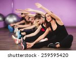 portrait of fitness class and... | Shutterstock . vector #259595420