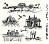 delhi  bombay   hand drawn... | Shutterstock .eps vector #259597640