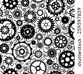 Seamless Pattern Of Gears. Set...