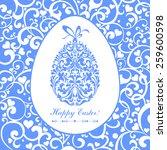 easter card. easter egg with... | Shutterstock .eps vector #259600598